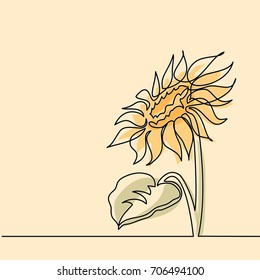 Beautiful yellow sunflower. Continuous line drawing. soft colors Vector illustration