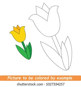 Beautiful Yellow Tulip To Be Colored, The Coloring Book For Preschool Kids With Simple Educational Gaming Level.