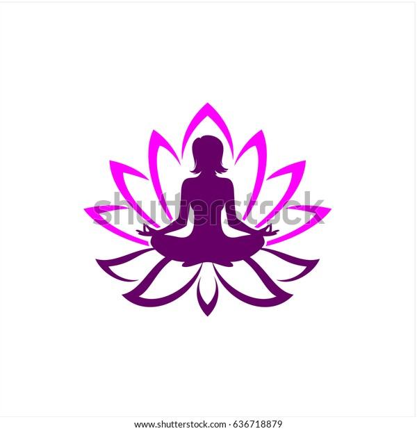 Beautiful Yoga Pose Lotus Flower Stock Vector Royalty Free 636718879