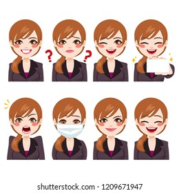 Beautiful young adult businesswoman on eight different funny face expressions avatar collection
