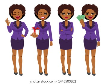 Beautiful young African American Black businesswoman set collection standing in different poses