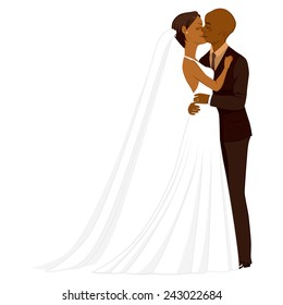 Beautiful young African American couple tenderly kissing on their wedding day