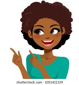 Beautiful young African American woman smiling gesturing with hands and pointing fingers