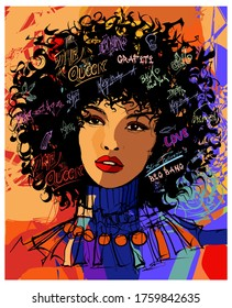 Beautiful young afro-american fashion model - vector illustration (Ideal for printing on fabric or paper, poster or wallpaper, house decoration)