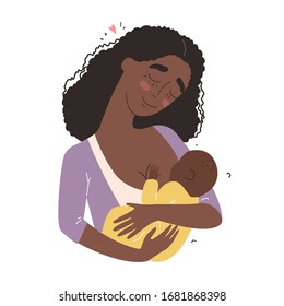 Beautiful young black african american mother breastfeeds her baby. A woman hugs a baby and feeds it with breast milk. Happy family concept.