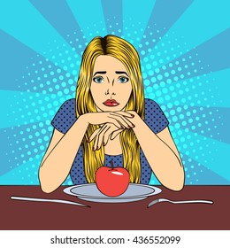 Beautiful Young Blond Woman in Diet with Apple on a Plate. Pop Art. Vector illustration