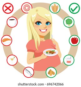 Beautiful young blonde caucasian woman with pregnancy diet what to eat food guide