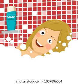 Beautiful young blonde woman enjoying pleasant bath with foam, lying