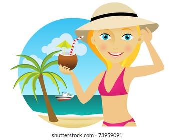 Beautiful young blonde woman in a hat and bikini enjoying a cocktail