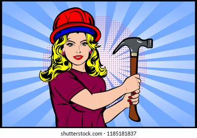 Beautiful young blonde woman worker with a hammer in her hand — Vector illustration in retro comic book style. Vector Pop Art background