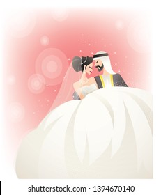 Beautiful young bride and groom couple  on wedding day - Arab coupel - Vector