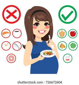 Beautiful young brunette pregnant woman infographic food information for pregnancy