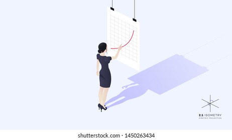 A beautiful young business lady stands with her back to the viewer. She is dressed in a strict corporate style. The girl's hand points to the growth chart. Conceptual isometric vector illustration.
