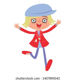 beautiful young Caucasian girl running, excited and energetic with happy cheering face expression celebrating. Front cartoon character girl wearing red dress and blue hat.