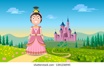 Beautiful young dark haired fairytale princess character is standing on the road in front of her old medieval castle with natural scenery in the background. Cheerful flat style vector illustration.