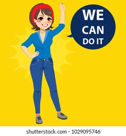 Beautiful young empowered woman wearing blue shirt and jeans with fist up attitude we can do it balloon text