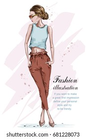 Beautiful young fashion girl. Stylish woman in fashion clothes. Hand drawn girl in sunglasses. Sketch. Vector illustration.