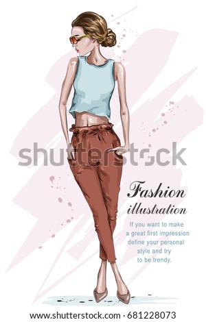 4c588d12f2a9 Beautiful Young Fashion Girl Stylish Woman Stock Vector (Royalty ...
