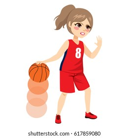 Beautiful young female basketball player playing on action