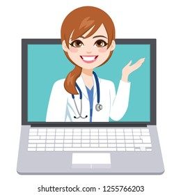 Beautiful young female online doctor consultation on laptop healthcare concept