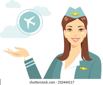 Beautiful young flight attendant with silhouette of airline in flat style