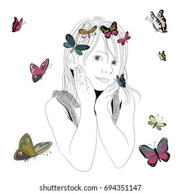 Beautiful young girl with colorful butterflies flying around. Vector illustration on white background