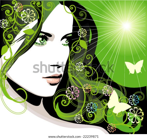 Beautiful young girl with decorative thick long hair on green sunny background. Spring background with flowers and leaves. Vector woman face