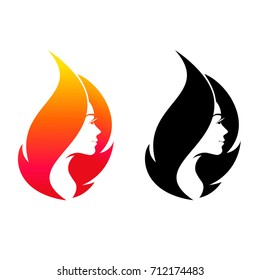 Beautiful young girl flame shape. Logo symbol for beauty salon.