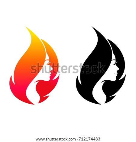 Beautiful Young Girl Flame Shape Logo Stock Vector Royalty Free