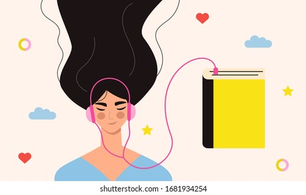 Beautiful young girl in headphones listening to audiobook. Audiobooks concept. Woman listening to books online, enjoying literature, learning. Audio bookworm. Flat vector illustration