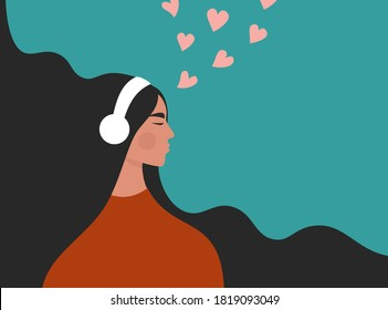 Beautiful young girl in headphones listening to music, radio, podcast or audio book. Melomaniac, music lover. Woman enjoying her favorite songs. Flat vector illustration with a female character