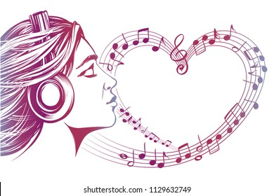 beautiful young girl listening to music on headphones, musical notes love music, hand drawn vector illustration sketch
