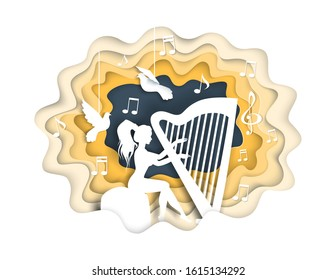 Beautiful young girl playing harp, vector illustration in paper art craft style. Woman harpist musician silhouette with doves, musical notes.