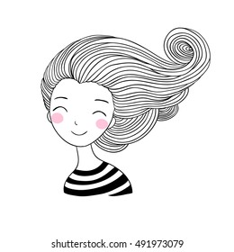 Beautiful young girl sailor. Sea theme. Hand drawing isolated objects on white background. Vector illustration.