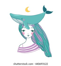 Beautiful young girl sailor with a whale. Sea animals. Hand drawing isolated objects on white background. Vector illustration.