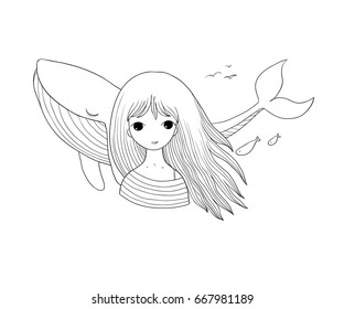 Beautiful young girl sailor with a whale. Isolated objects on white background. Vector illustration. Coloring book
