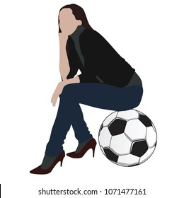 A beautiful young girl sitting on a soccer ball in modern shoes with a styler and thinking. Women love football. Vector
