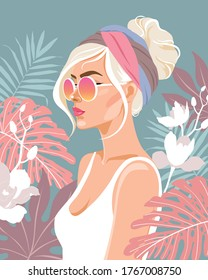Beautiful young girl surrounded by leaves and flowers. Fashion vector illustration.