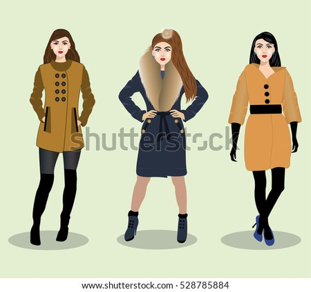 865bbff453 Beautiful young girls set wearing modern stylish warm outer clothes. Vector  fashion illustration.