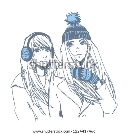 8f89765e1f52 Beautiful Young Girls Winter Vector Handdrawn Stock Vector (Royalty ...