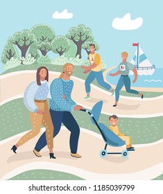 Beautiful young happy couple with baby boy resting in park outdoors. Parents with their child in baby-carriage walking on the nature. Man and woman running or jogging. Vector cartoon illustration