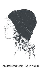 Beautiful young hipster girl in a stylish modern hat with curly locks side view. Hand drawn vector art.
