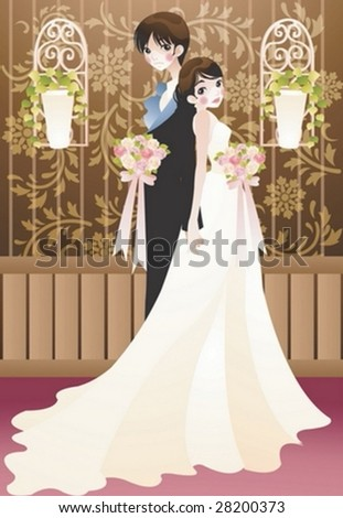 Beautiful Young Married Couple Romantic Bouquet Stock Vector