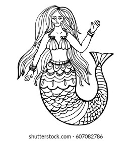 The beautiful young mermaid is hand drawing in vector. Illustration can be used for cover, business card, logo, background for poster, anti-stress coloring book.