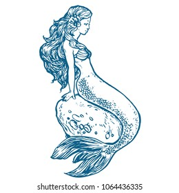Beautiful young Mermaid sitting on a stone hand drawn stock vector illustration tattoo sketch, design for coloring book page
