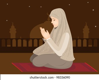 Beautiful young muslim woman pray from side view, sitting on roof. Vector illustration in EPS 10.