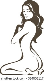 Beautiful young nude female vector contour drawing
