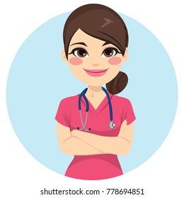 Beautiful young professional nurse woman portrait wearing pink uniform