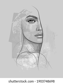 Beautiful young sexy woman in sketch style - vector illustration
