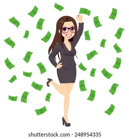 Beautiful young successful rich brunette business woman under falling money rain shower